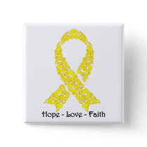 Hope Yellow Awareness Ribbon Pinback Button