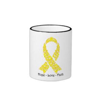 Hope Yellow Awareness Ribbon Ringer Mug