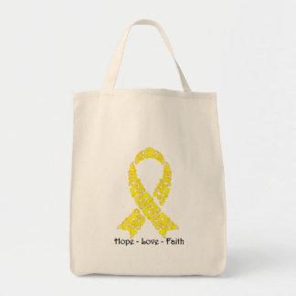 Hope Yellow Awareness Ribbon Tote Bag