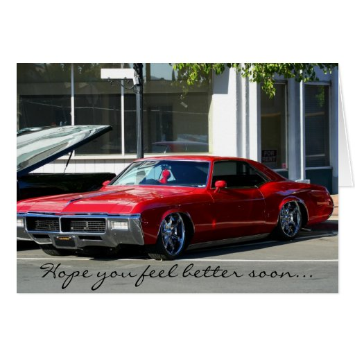 Hope you feel better Classic red car greeting card