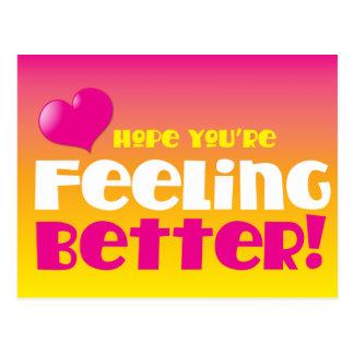 Hope you re feeling better get well postcard