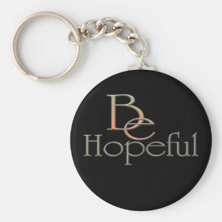 Hopeful Basic Round Button Keychain