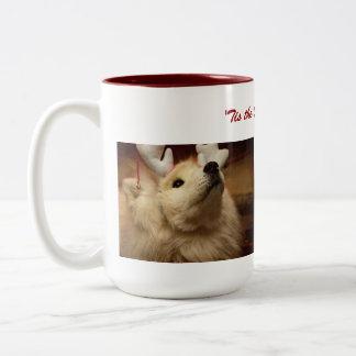 Hopeful Christmas Dog in Reindeer Ears Mug