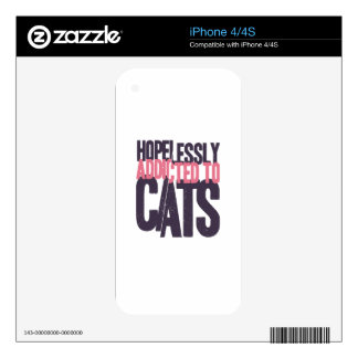 Hopelessly Addicted to Cats iPhone 4 Skin