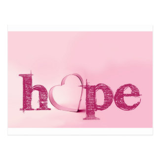 Hope's Heart in Pink - Typography with a Heart Postcard