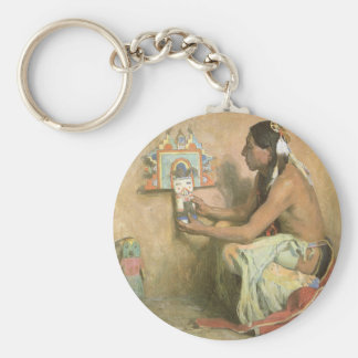 Hopi Katchina by Eanger Couse, American West Art Basic Round Button Keychain