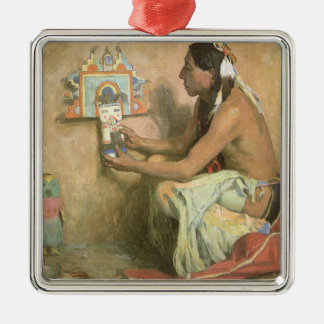 Hopi Katchina by Eanger Couse, American West Art Square Metal Christmas Ornament