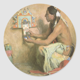 Hopi Katchina by Eanger Couse, American West Art Classic Round Sticker