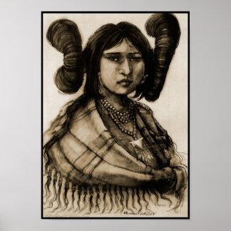 Hopi Maiden Sepia Canvas Print