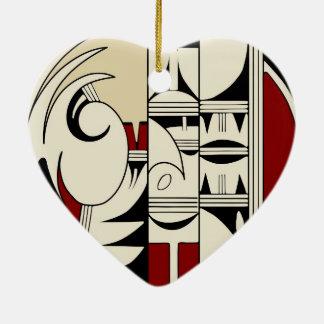 Hopi Pottery 01 Double-Sided Heart Ceramic Christmas Ornament