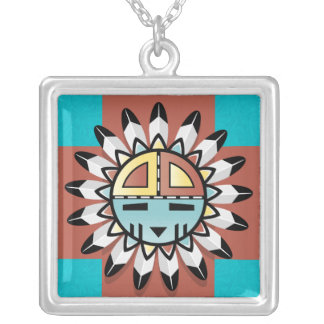 Hopi Sun Shield with 4 Directions Pendant Necklace