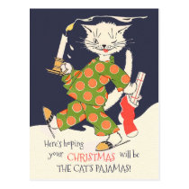 Hoping your Christmas will be The cat's pajamas! Postcard