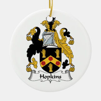 Hopkins Family Crest Ceramic Ornament
