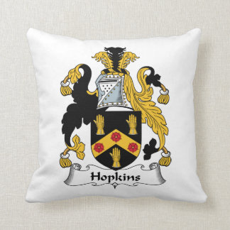Hopkins Family Crest Throw Pillow