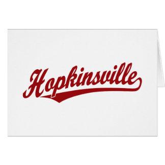 Hopkinsville script logo in red card