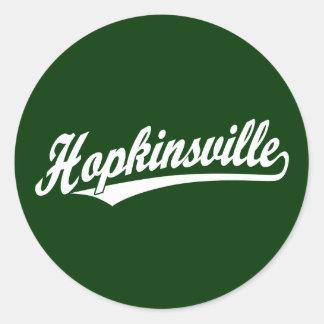 Hopkinsville script logo in white classic round sticker