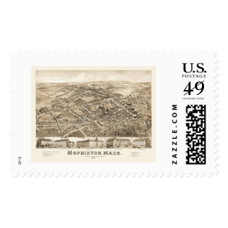 Hopkinton, MA Panoramic Map - 1880 Postage