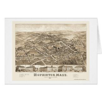 Hopkinton, mapa panorámico del mA - 1880 Tarjeta De Felicitación
