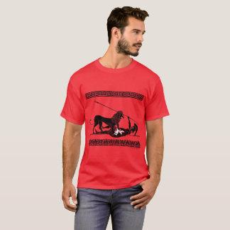 Hoplit and Lion (black on red) T-Shirt