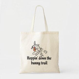 Hoppin abajo del rastro del conejito bolsa tela barata