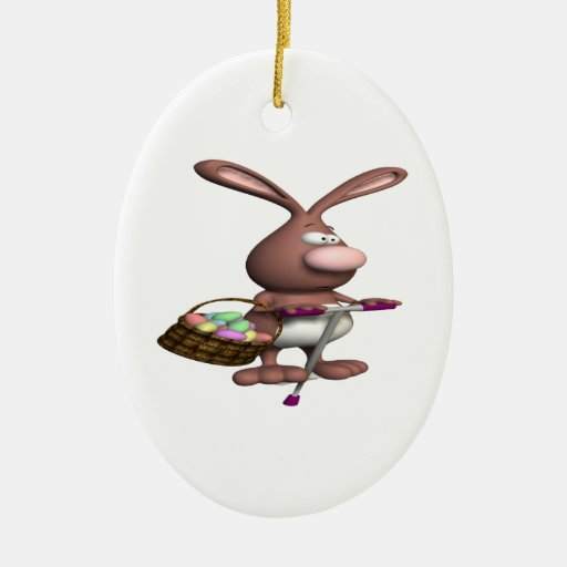 Hopping Bunny Double-Sided Oval Ceramic Christmas Ornament
