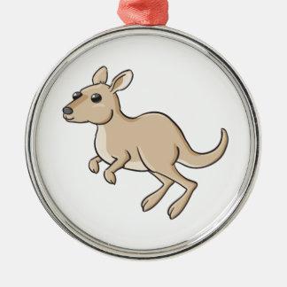 Hopping Cartoon Kangaroo Metal Ornament