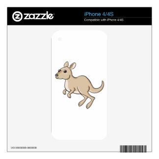 Hopping Cartoon Kangaroo iPhone 4 Decals