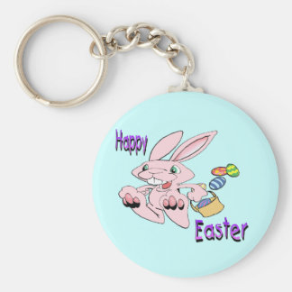 Hopping Easter Bunny Basic Round Button Keychain