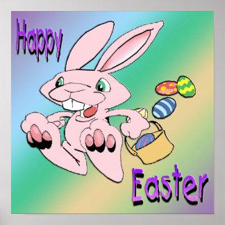 Hopping Easter Bunny Poster