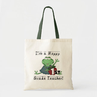 Hoppy 1st Grade Teacher Tshirts and Gifts Budget Tote Bag