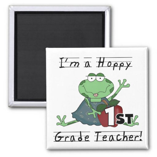 Hoppy 1st Grade Teacher Tshirts and Gifts 2 Inch Square Magnet