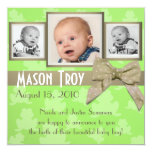 "Hoppy Baby Photo Announcement 5.25"" Square Invitation Card"