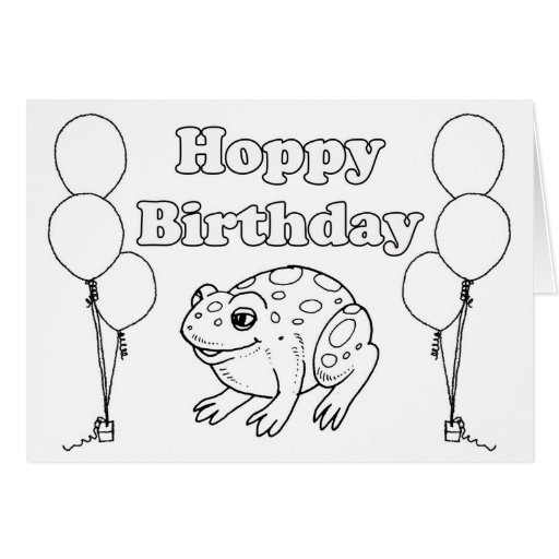 Birthday Card Coloring Pages: Hoppy BIrthday Frog Coloring Book Card