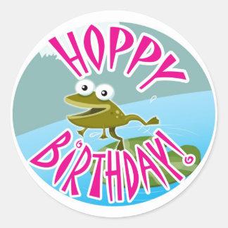Hoppy Birthday Round Stickers
