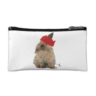 Hoppy Christmas Bunny Small Cosmetic Bag