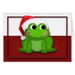 Hoppy Christmas Santa Hat Froggy custom Card