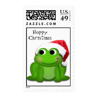 Hoppy Christmas Santa Hat Froggy Stamps