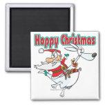 hoppy christmas santa hopping kangaroo refrigerator magnet