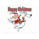 hoppy christmas santa hopping kangaroo postcard