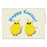 HOPPY EASTER!  Baby Chicks w/Bunny Ears Greeting Card