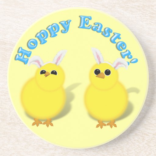 HOPPY EASTER!  Baby Chicks w/Bunny Ears Drink Coaster