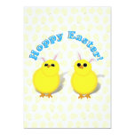 HOPPY EASTER!  Baby Chicks w/Bunny Ears 5x7 Paper Invitation Card