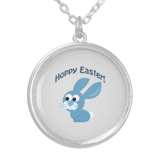 Hoppy Easter! Blue Rabbit Silver Plated Necklace