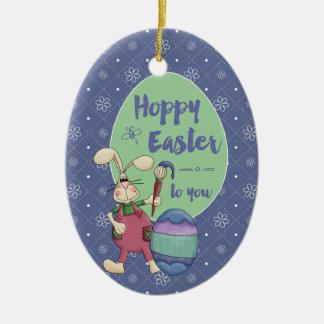 Hoppy Easter Bunny Artist painting egg custom year Ceramic Ornament