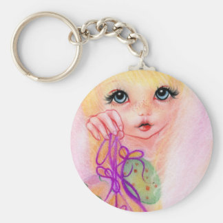 Hoppy easter bunny girl keychain