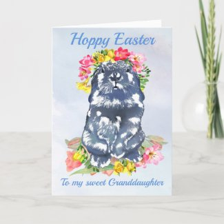 Hoppy Easter Bunny with Spring Flowers Holiday Card