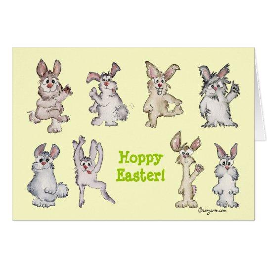 Hoppy Easter Cartoon Rabbits Greeting Card