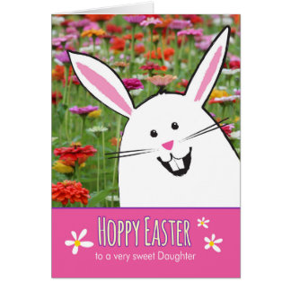 Hoppy Easter Daughter, with Cute Bunny Greeting Card