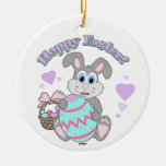 Hoppy Easter! Easter Bunny Double-Sided Ceramic Round Christmas Ornament
