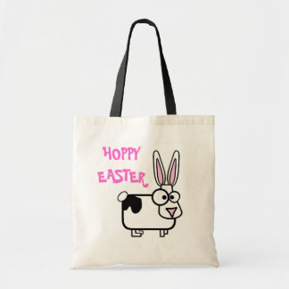 Hoppy Easter Funny Cross Eyed Cartoon Bunny Rabbit Tote Bag